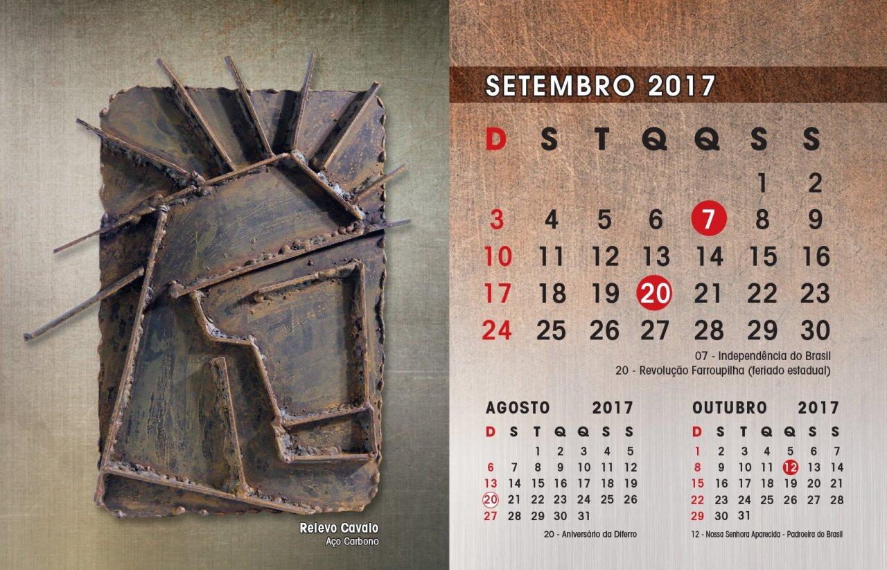 O calendário 2017 da Diferro, intercala obras de arte feitas de ferro e  aço, com imagens